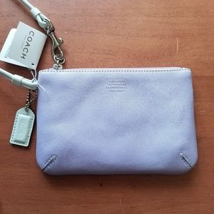 NWT Coach lilac lavender leather wristlet